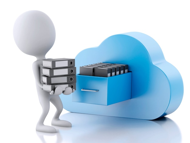 3d white people with file storage and cloud. cloud computing concept.