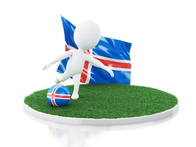 3d white people with iceland flag and soccer ball
