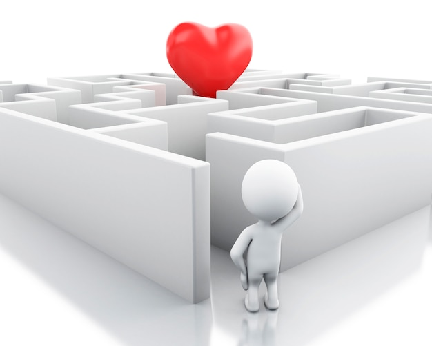 3d white people with a maze and a heart in middle.