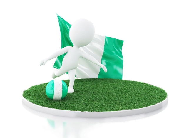3d white people with nigeria flag and soccer ball
