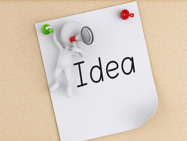 코르크 보드 위에 포스트잇 메모와 함께 3d 백인들. 사업 개념