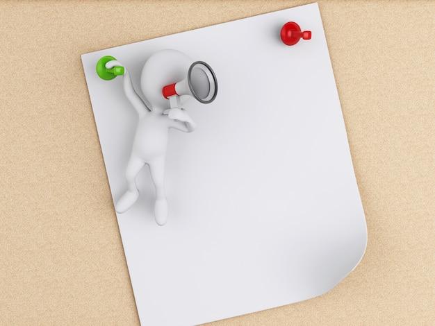 코르크 보드 위에 포스트잇 메모와 함께 3d 백인들.