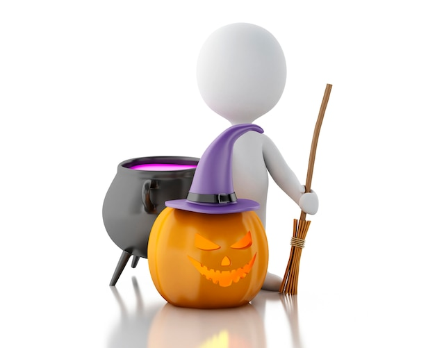3d white people with pumpkin, witch hat, broom and witch pot.