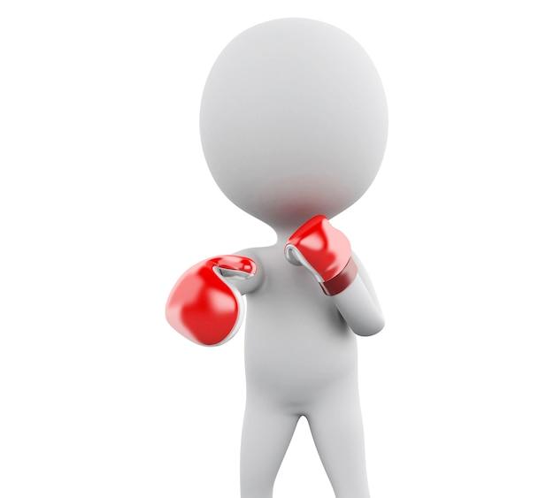 3d赤いボクシンググローブと白人。