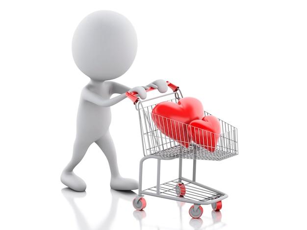 ショッピングカートに赤い心の3d白人。