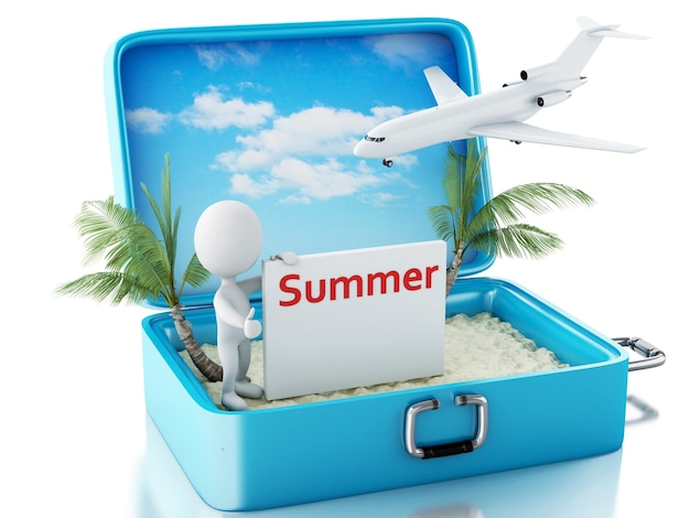 3d white people with signboard in a travel suitcase. summer concept