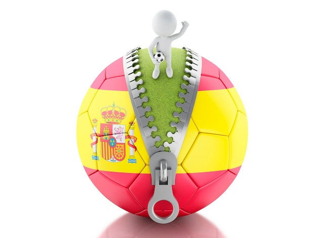 3d white people with soccer ball of spain