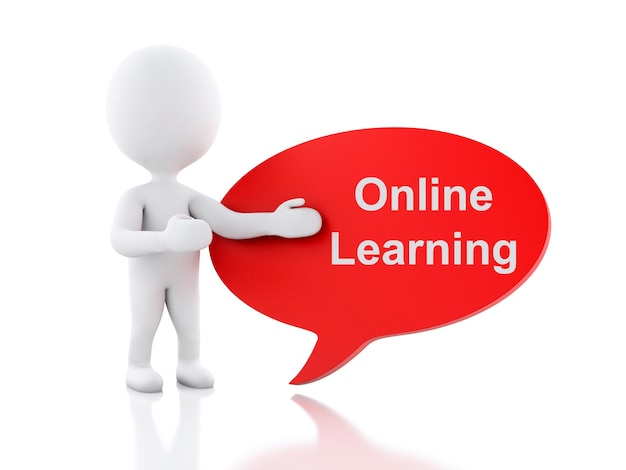 3d white people with speech bubble online learning.