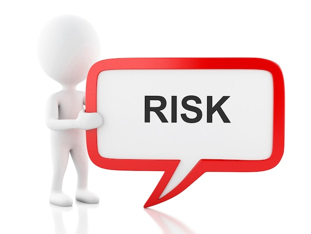 3d white people with speech bubble that says risk.