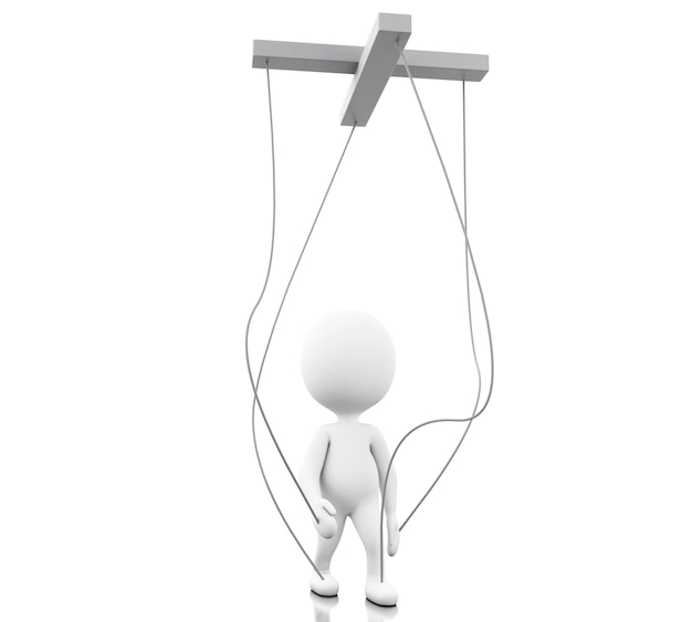 3d white person manipulated by strings