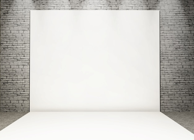 3d white photo back drop in a grunge brick interior