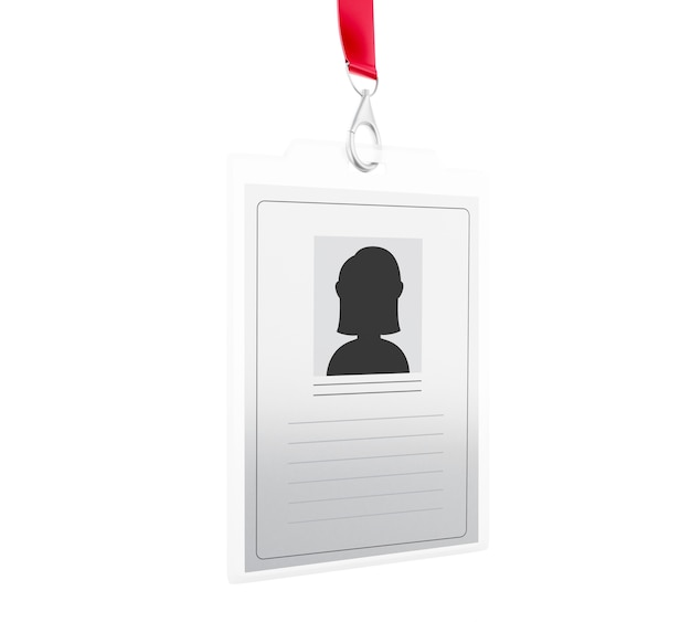 3d white plastic id badge with lanyard