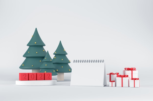 3d. белый подиум для демонстрации продуктов для календаря 2020 и новогодних елок. с подарочной коробкой