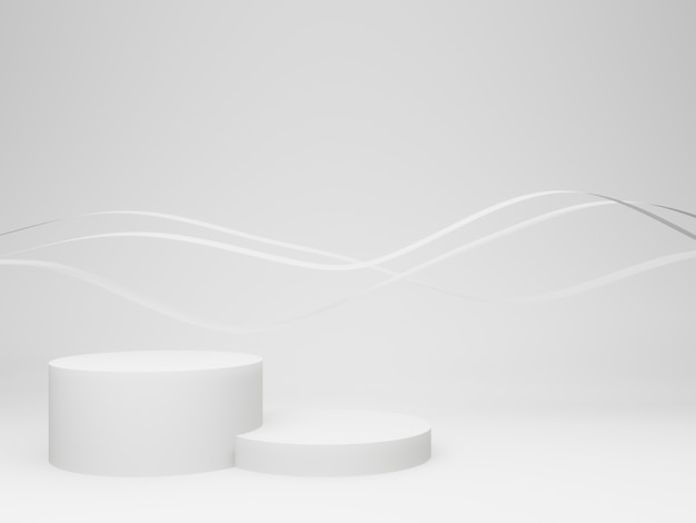 파문이 배경으로 3d 흰색 연단