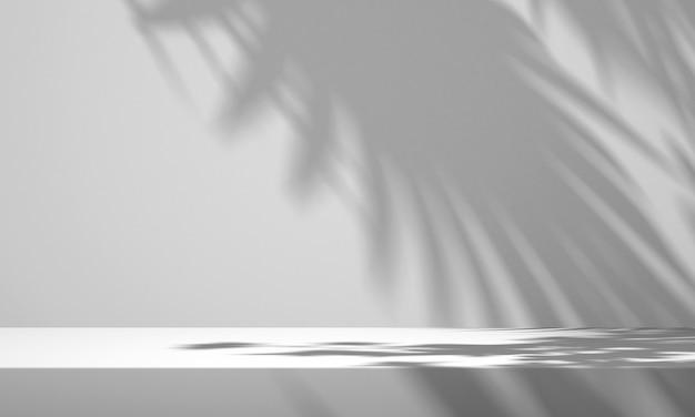 흰색 배경과 나무 그림자가 있는 3d 흰색 제품 연단 디스플레이, 여름 제품 모형 배경, 3d 렌더링 그림