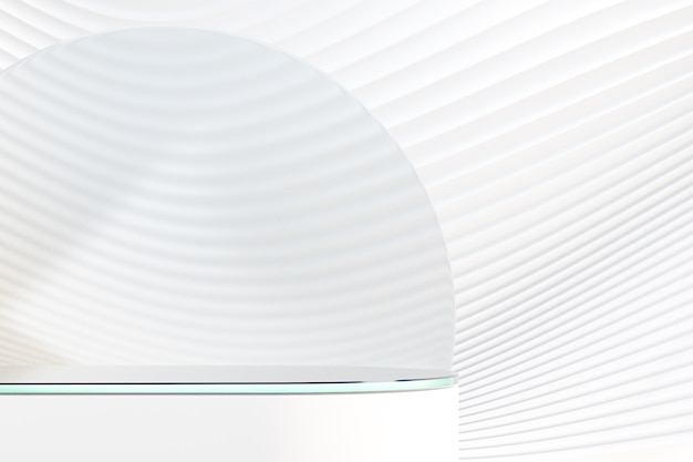 Белый круглый подиум 3d со стеклом на стене волны белой кривой. 3d визуализация иллюстрации.
