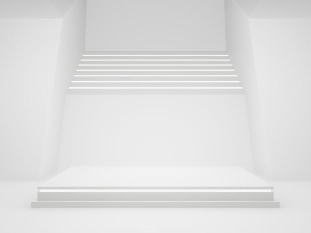 3d 흰색 과학 제품 스탠드 흰색 배경