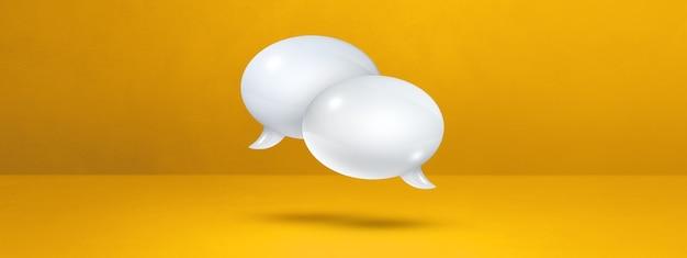 노란색 배너 배경에 고립 된 3d 흰색 연설 거품
