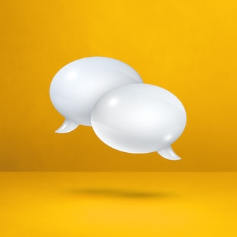 3d white speech bubbles isolated on yellow square background