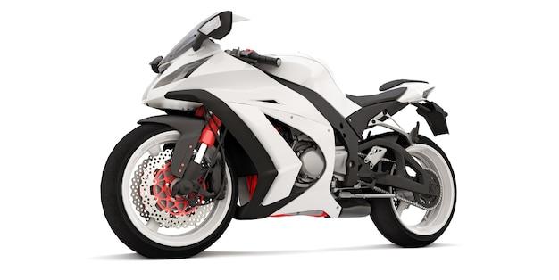 白い孤立した表面上の3d白いスーパースポーツバイク
