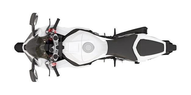 3d белый супер спортивный мотоцикл на белой изолированной поверхности