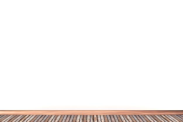 3d 흰 벽과 나무 바닥 배경