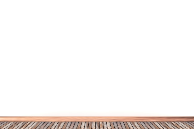 3d white wall and wood floor background