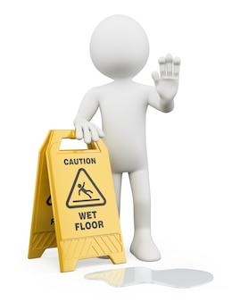 3d white with caution wet floor sign