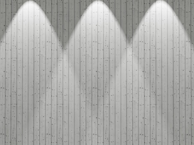 3d white wooden wall with spotlights shining down