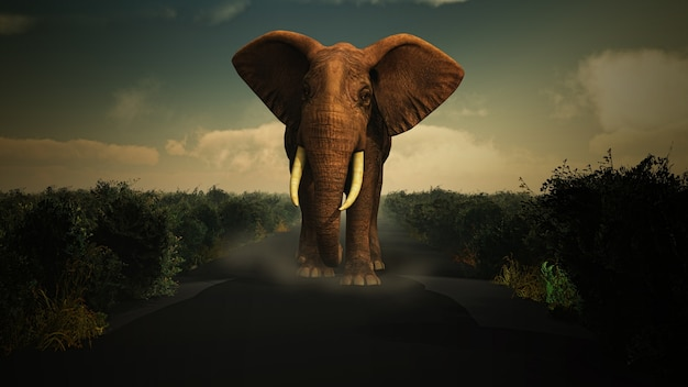 3d визуализации слона ходить в wildermess к камере