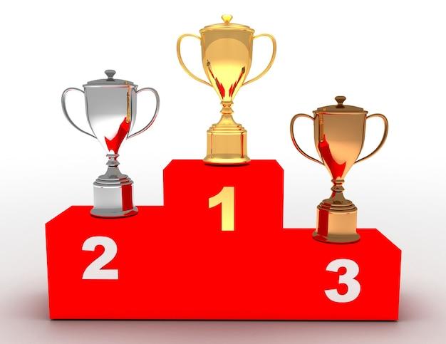 Подиум победителя 3d. концепция подиума победителя