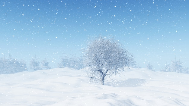 3d winter landscape with snowy tree