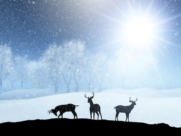 3d winter snow landscape with silhouettes of deer