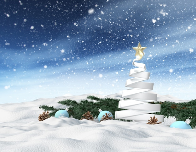 3d winter snowy landscape with christmas tree, background for greeting card