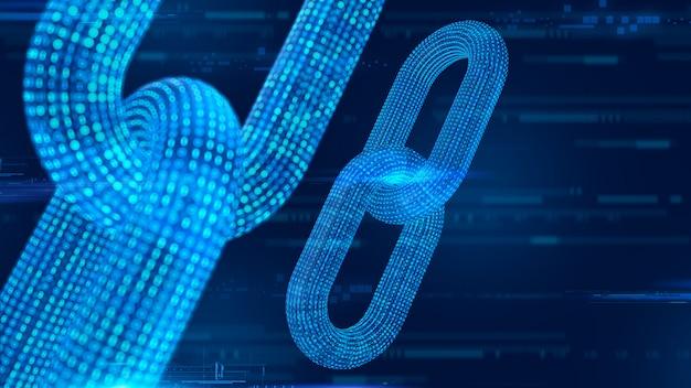 3d каркасная цепь с цифровым кодом. блокчейн 3d визуализации.