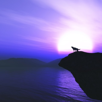 3d wolf on a cliff howling against a sunset sky