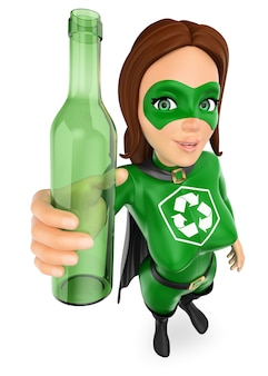 3d woman superhero of recycling with a glass bottle