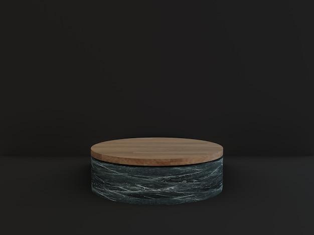 3d 나무 대리석 연단 기하학적 검은 배경