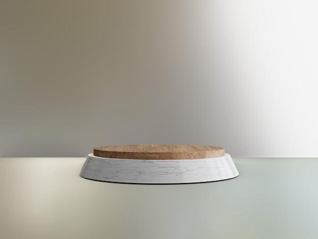3d 나무 대리석 연단 기하학적 금속 배경