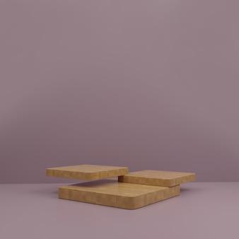 3d деревянный подиум современный макет с фиолетовым фоном