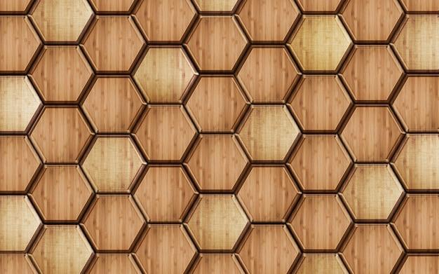 3d wooden hexagon pattern illustration wallpaper  for mural wall decor