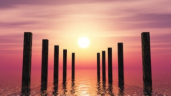 3D wooden posts in the ocean against a sunset sky