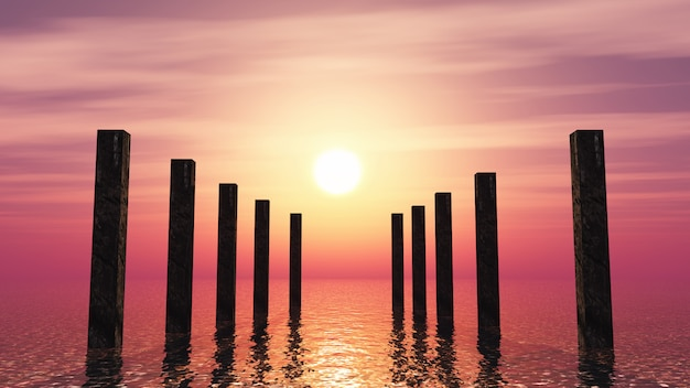 3d деревянные столбики в океане на фоне закатного неба