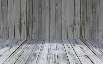 3D wooden room interior