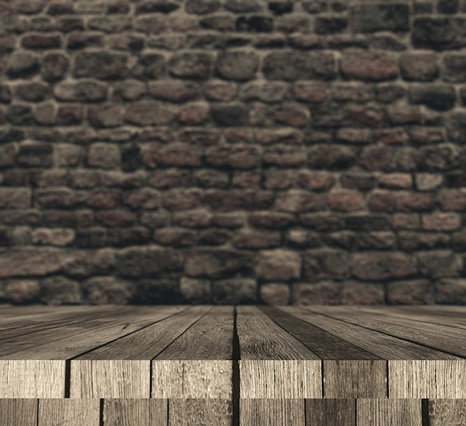 3d wooden table against defocussed brick wall