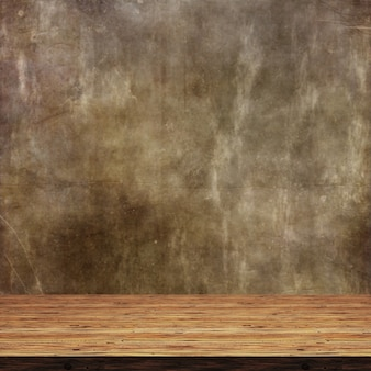 3d wooden table against a defocussed grunge background