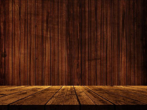 3d wooden table against a wood wall texture