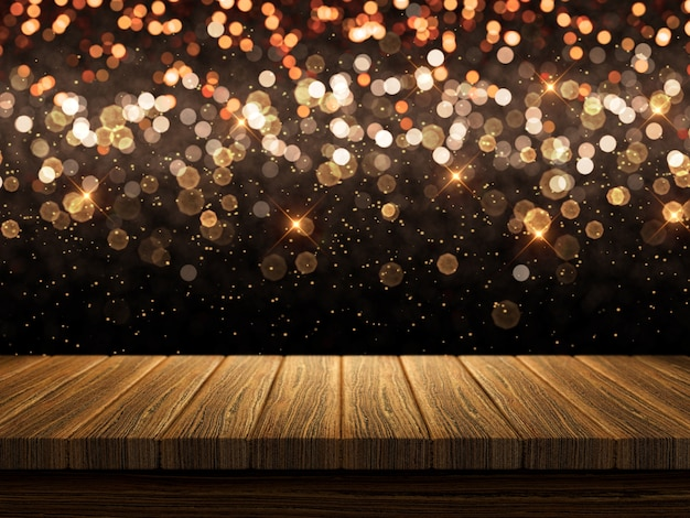 3d wooden table on christmas bokeh lights background