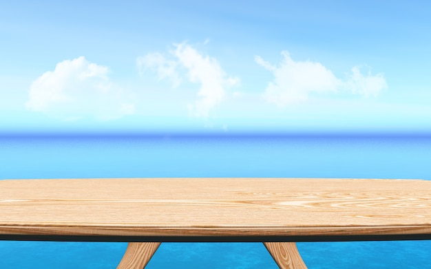 3d wooden table looking out to a blue ocean landscape background, product presentation