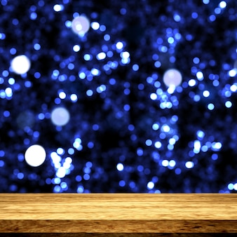 3d wooden table looking out to a bokeh lights background